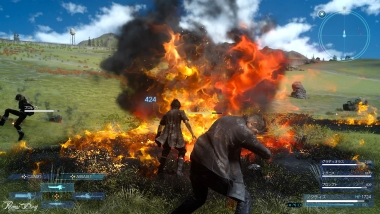 Final Fantasy XV - Gli effetti di un incantesimo di Fuoco