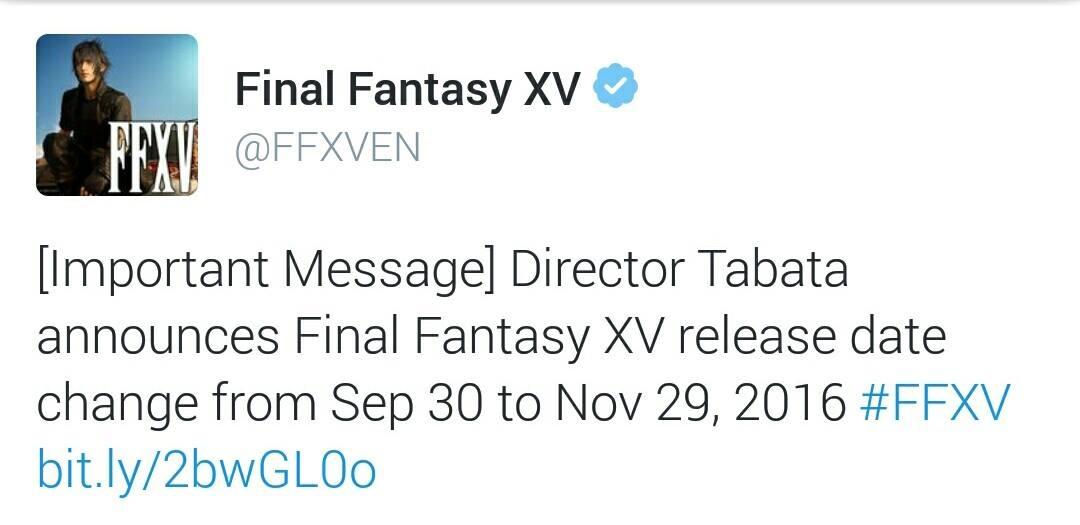 L\'account Twitter ufficiale di FFXV conferma il ritardo al 29 Novembre 2016