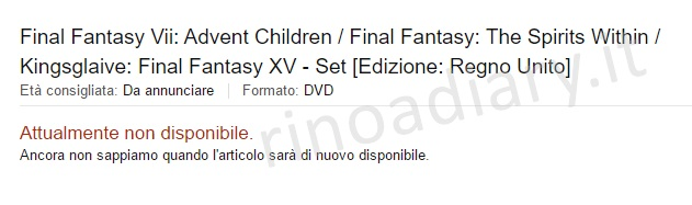 "Un misterioso ""Final Fantasy Film Collection"" fa la sua comparsa su Amazon Italia"