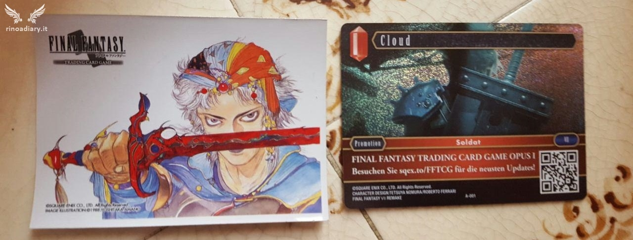 Final Fantasy Trading Card Game - La bustina contenente la carta di Cloud, FFVII Remake