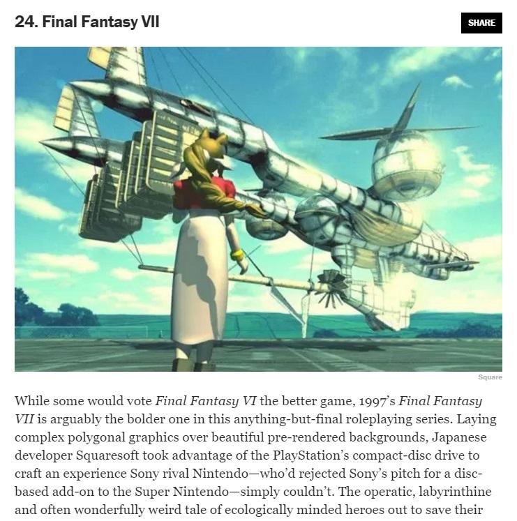 Final Fantasy VII tra i 50 migliori giochi di sempre eletti da Time