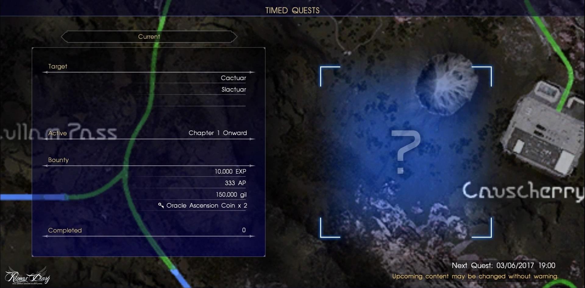 La versione 1.05 di Final Fantasy XV aggiunge il Livello 120, Cacce a tempo e molto altro!