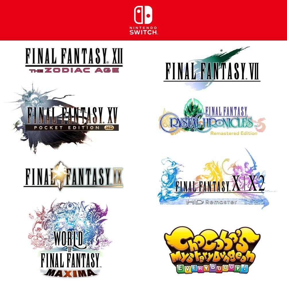 Annunciati Final Fantasy VII, IX, X X-2, XII, World of Final Fantasy e Chocobo's Dungeon Everybuddy per Nintendo Switch!