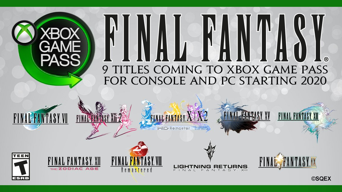Final Fantasy VII, VIII, IX, X|X-2, XII, XIII, XIII-2, LR e XV arriveranno su Xbox Game Pass nel corso del 2020!